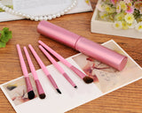 5 Pcs Professional Makeup Brush Set with Cyclinder Tube - Pink