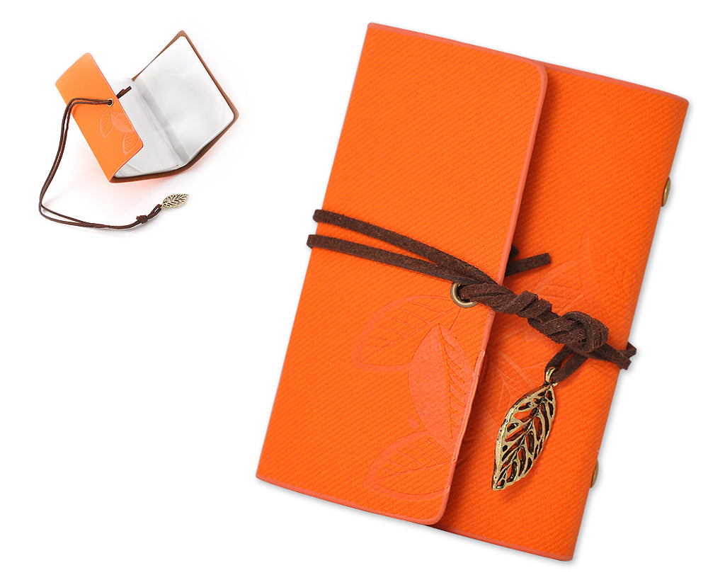 Leaf Pattern Leather Card Holder - Orange