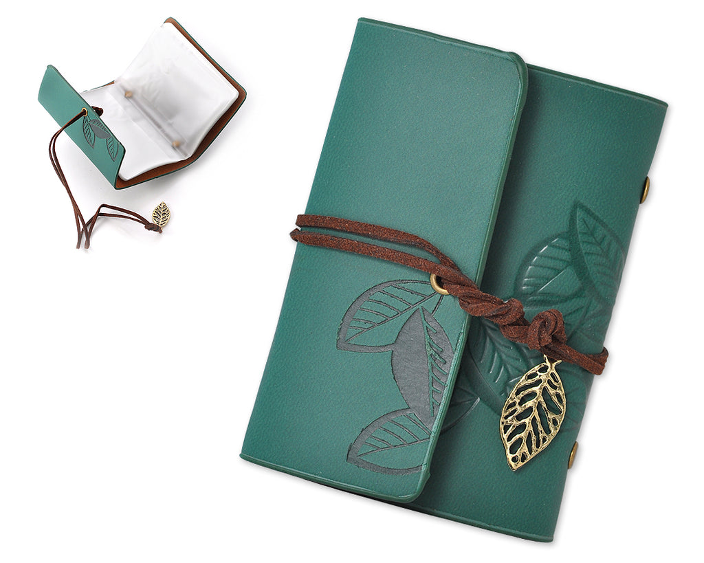 Leaf Pattern Leather Card Holder - Green