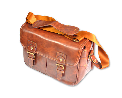 Retro PU Leather DSLR Camera Shoulder Bag - Brown