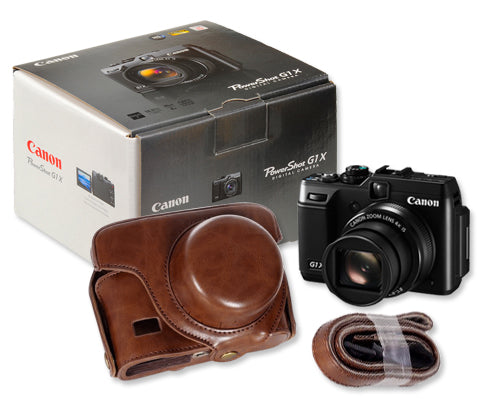 Retro Canon PowerShot G1 X Camera Leather Case - Deep Brown