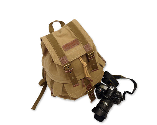 Retro Canvas DSLR Camera Backpack - Brown