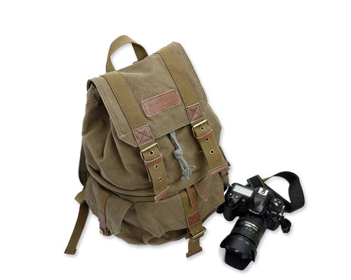 Retro Canvas DSLR Camera Backpack - Green