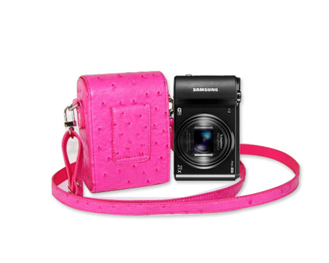 PU Ostrich Leather Mirrorless Camera Bag with Adjustable Strap - Magenta