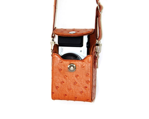 PU Ostrich Leather Mirrorless Camera Bag with Adjustable Strap - Brown