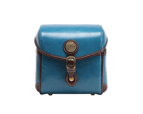 Vintage Style Leather Shoulder Bag for DSLR Camera - Blue