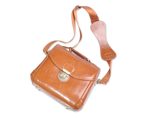Classic DSLR Leather Shoulder Bag with Detatchable Strap - Light Brown