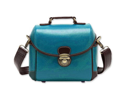 Classic DSLR Leather Shoulder Bag with Detatchable Strap - Blue