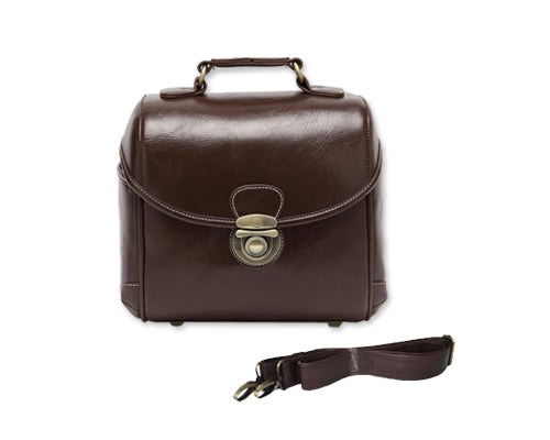 Classic DSLR Leather Shoulder Bag with Detatchable Strap - Dark Brown