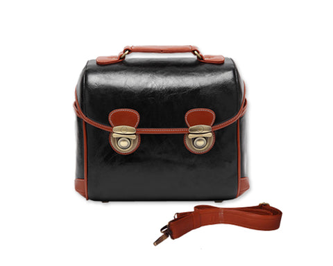 Retro DSLR Leather Shoulder Bag with Detatchable Strap - Black
