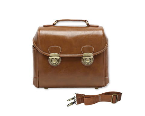 Retro DSLR Leather Shoulder Bag with Detatchable Strap - Brown