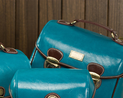 Retro DSLR Leather Shoulder Bag with Detatchable Strap - Blue