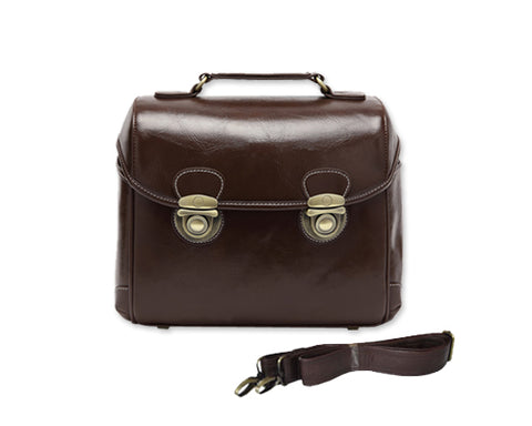 Retro DSLR Leather Shoulder Bag with Detatchable Strap - Dark Brown