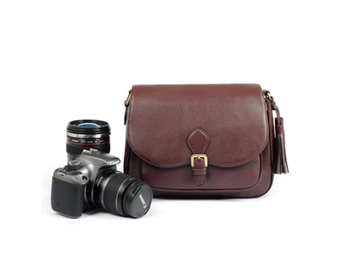 Retro Leather Camera Shoulder Bag for DSLR SLR Camera - Brown