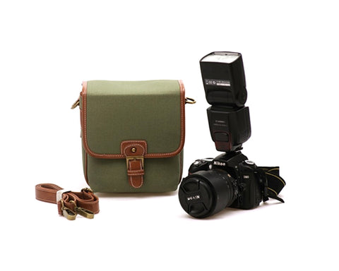 Retro Shoulder Canvas Bag for DSLR SLR Cameras - Green(Small)