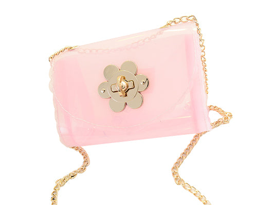 Translucent Jelly Shoulder Bag with Chain Strap - Pink