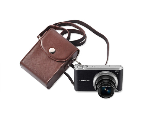 Simple PU Leather Shoulder Bag for Mirrorless Camera - Deep Brown