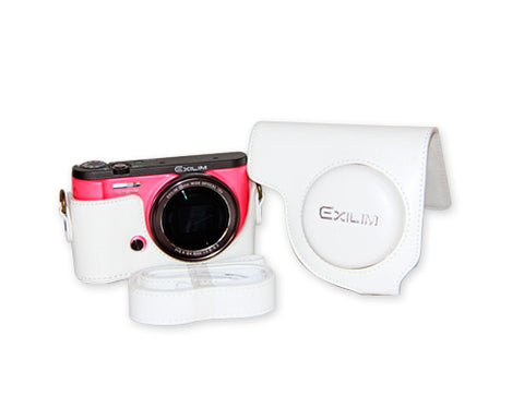 Retro Casio Exilim EX-ZR3500/EX-ZR2000 Camera Leather Case - White