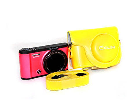 Retro Casio Exilim EX-ZR3500/EX-ZR2000 Camera Leather Case - Yellow