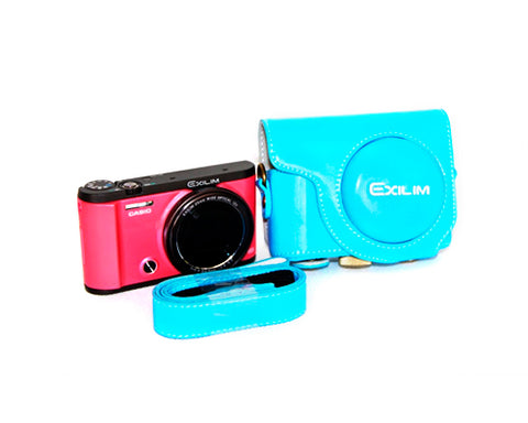 Retro Casio Exilim EX-ZR3500/EX-ZR2000 Camera Leather Case - Blue