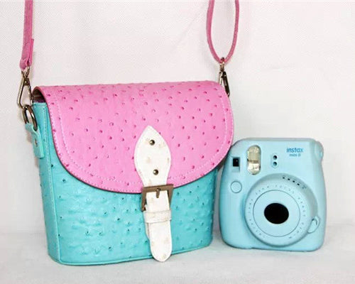 PU Ostrich Leather Multi-way Shoulder Bag - Pink and Light Blue