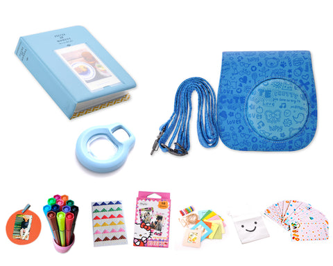 Cute Camera Accessory Bundles Set for Fujifilm Instax Mini 8 - Blue