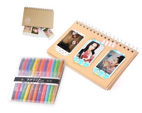 Cardboard Photo Album with 12 Pcs Color Pens