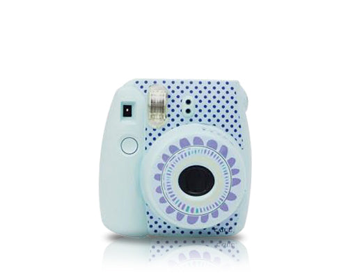 Floral Camera Sticker for Fujifilm Instax mini 8 - Blue