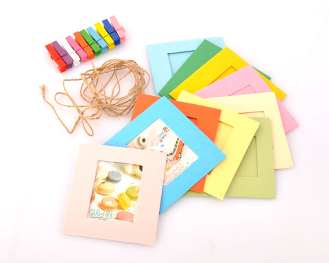 Fujifilm Mini Film Paper Photo Frames 10 Pieces with Wooden Clips and Hemp String