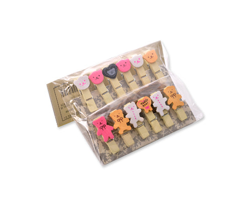 12 Pcs Wooden Pegs Paper Photo Clip With Linen String - Bear