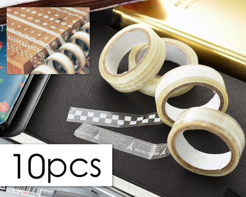 10 Pcs 1.5 cm Cute Patterns Transparent Decorative Washi Masking Tape