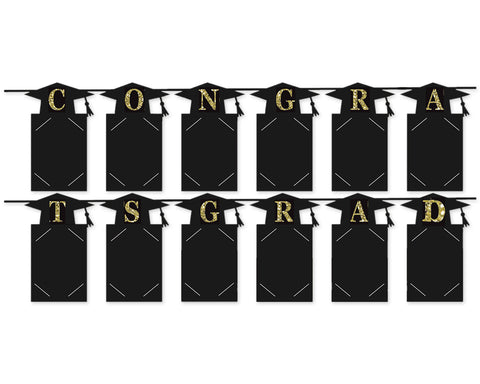 Graduation Photo Banner Set of 2 Congrats Grad Garland Decoration