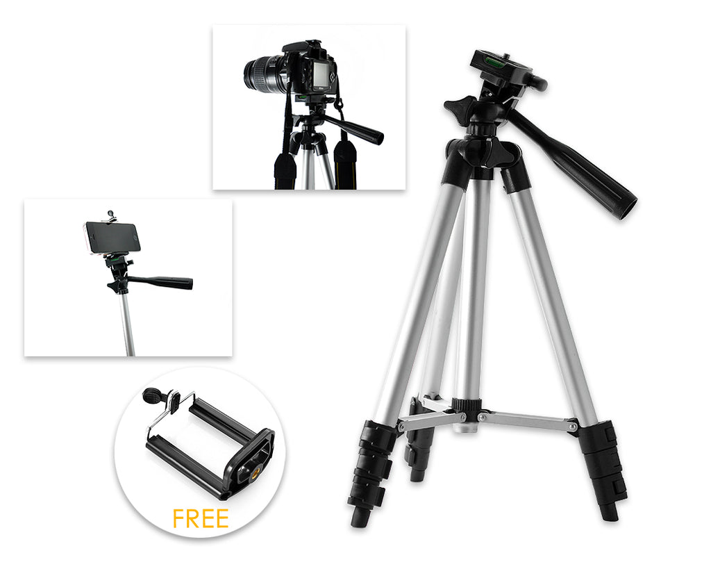 "14-43"" Phone Selfie Tripod with Phone Clip"
