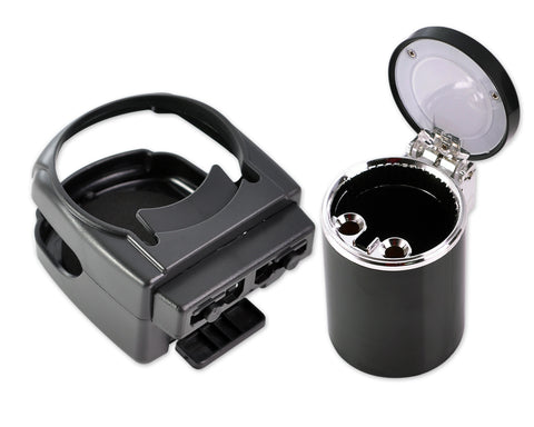 Car Accessories Bundle - Cigarette Ashtray and Car Cup Holder - Black