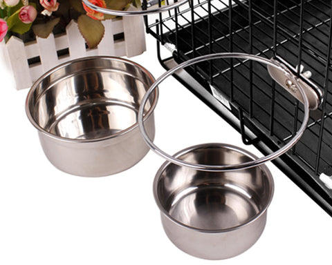 Cage Series Stainless Steel Coop Cup Dog Food Bowl - Silver