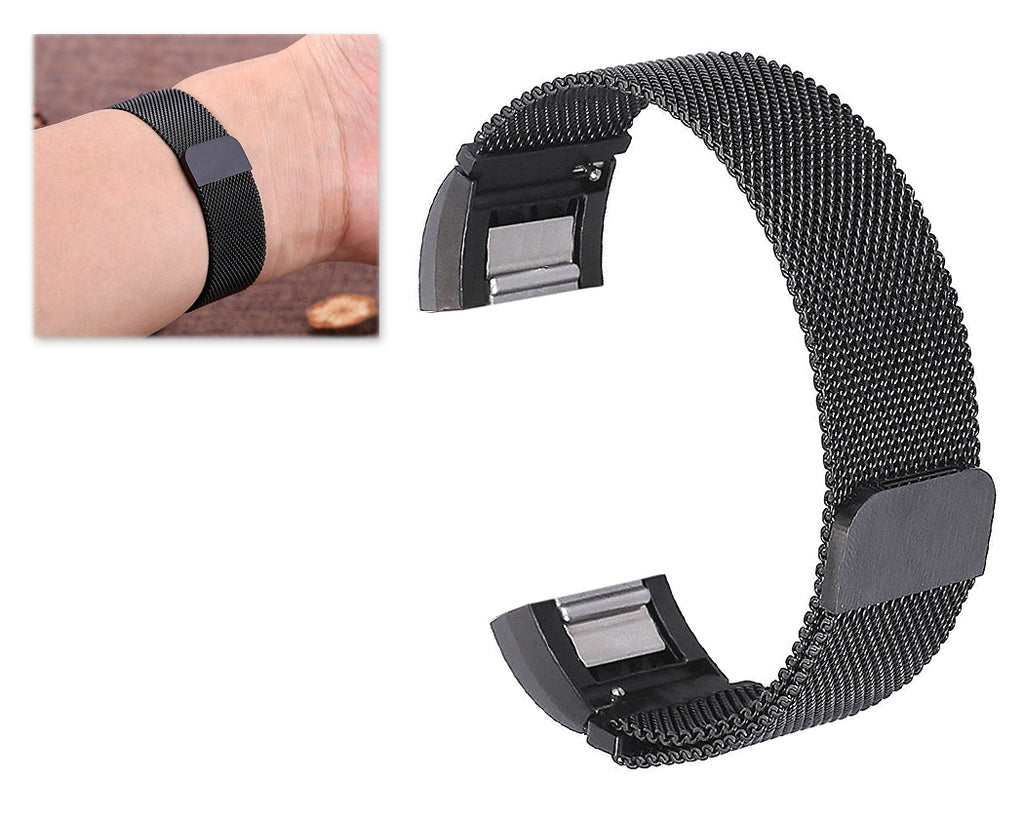 Magnet Stainless Steel Mesh Watch Band for Fitbit Alta - Black