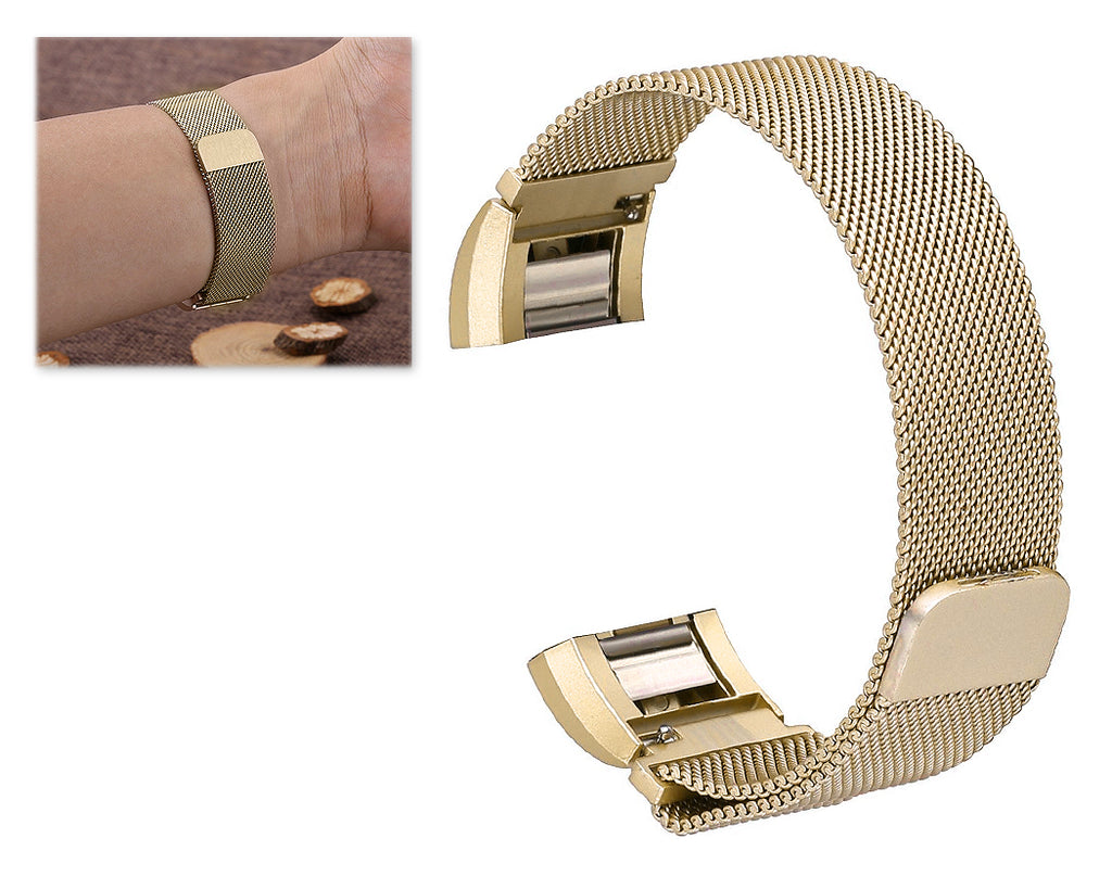 Magnet Stainless Steel Mesh Watch Band for Fitbit Alta - Gold
