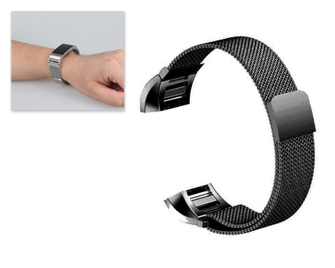 Magnet Stainless Steel Mesh Watch Band for Fitbit Charge 2 - Black