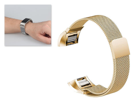 Magnet Stainless Steel Mesh Watch Band for Fitbit Charge 2 - Gold