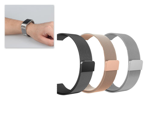 3 Pcs Magnet Stainless Steel Mesh Watch Band for Fitbit Charge 2
