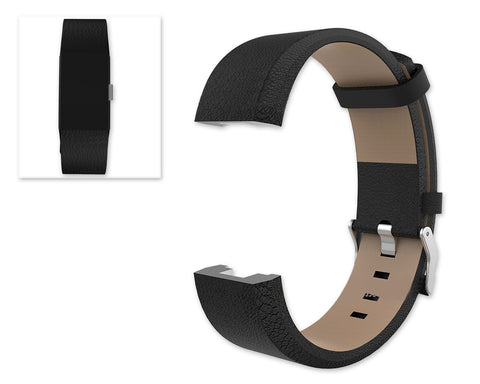 Replacement Leather Watch Band for Fitbit Charge 2 - Black