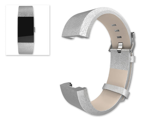 Replacement Leather Watch Band for Fitbit Charge 2 - Silver