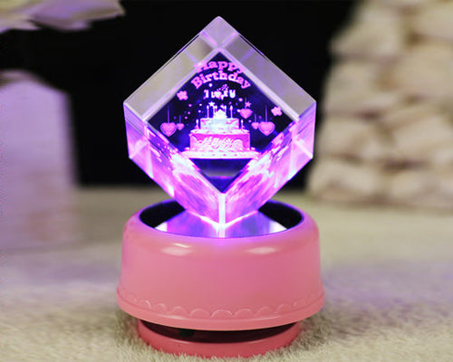 3D Laser Engraved LED Rotating Music Box