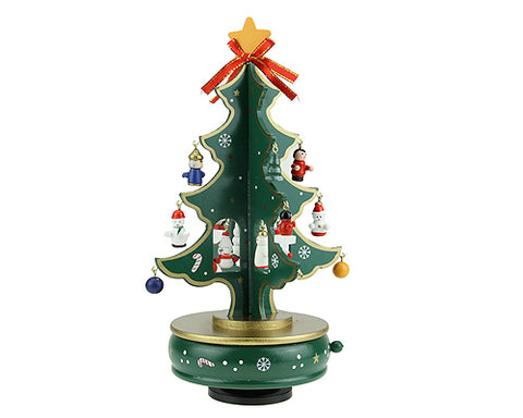 Christmas Tree Rotating Wooden Music Box