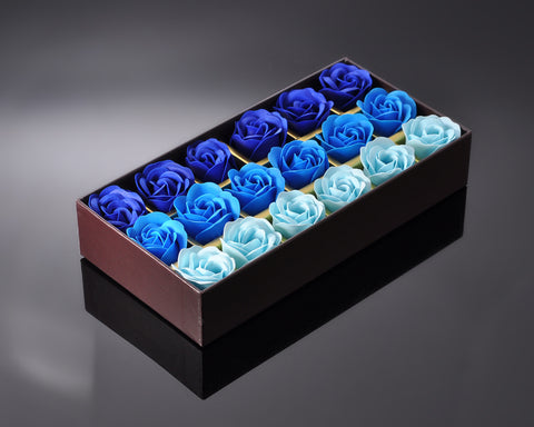 18 Pcs Romantic Rose Petal Flower Soap Gift Set - Blue