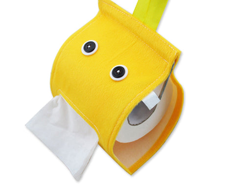 Cartoon Plush Toilet Paper Cover - Yellow