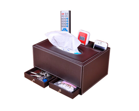 PU Leather Tissue Box Holder with Compartments