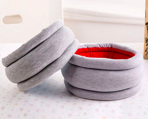 Reversible Ostrich Travel Pillow - Gray and Red