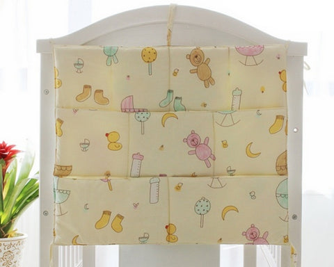Cartoon Bear Hanging Diaper Caddy and Nursery Organizer - Yellow