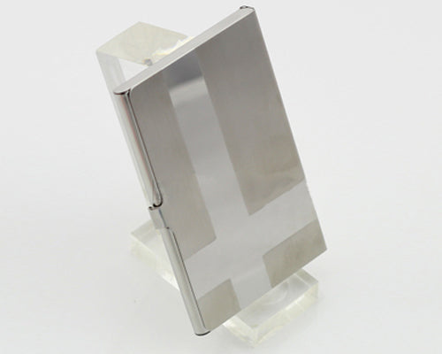 Cross Line Stainless Steel Business Card Holder